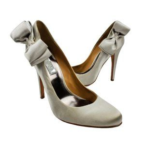 Badgley Mischka Silver Satin Bow Bridal Heels